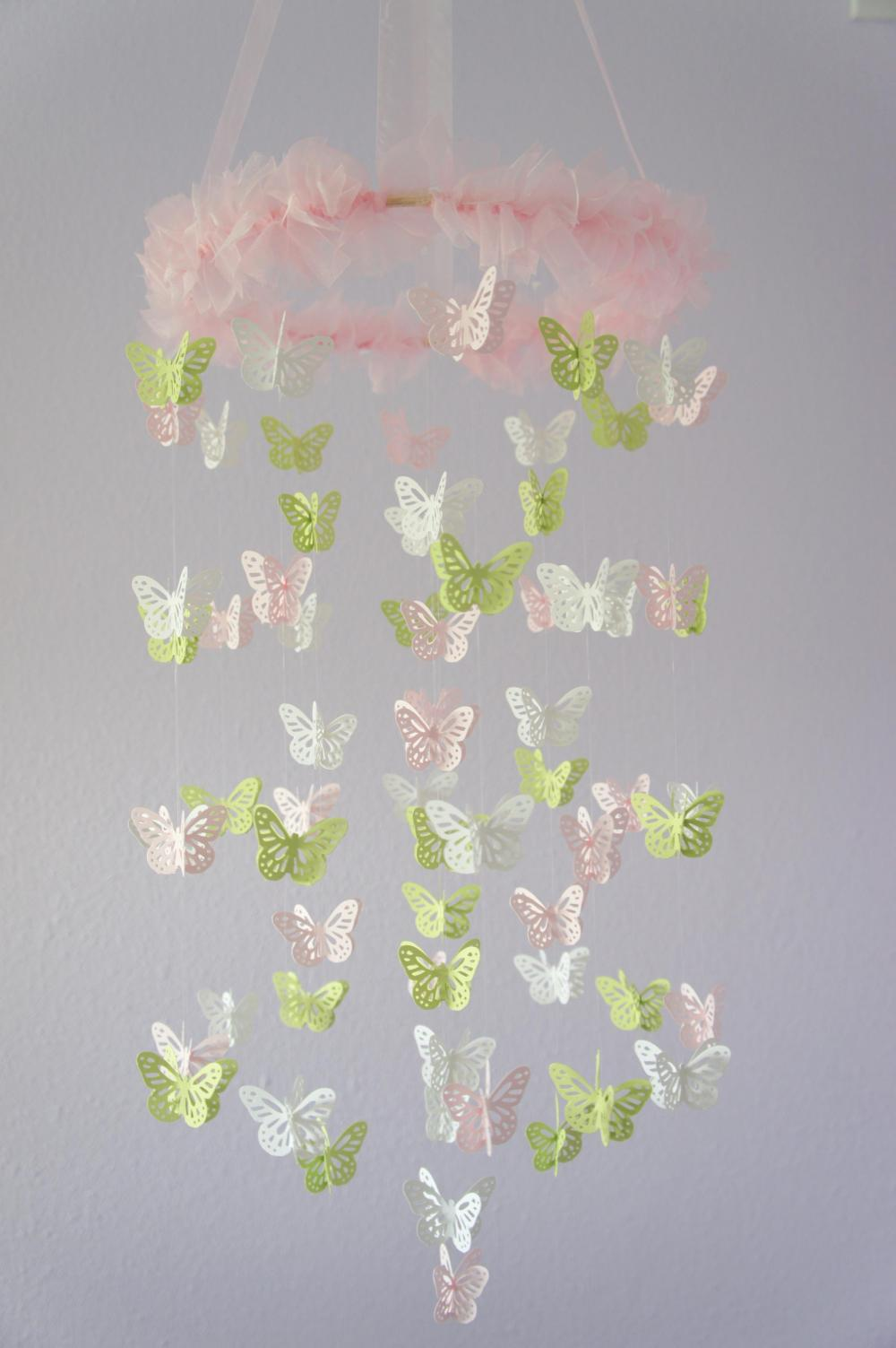Nursery mobile pink green white butterfly mobile baby shower nursery mobile pink green white butterfly mobile baby shower gift arubaitofo Image collections