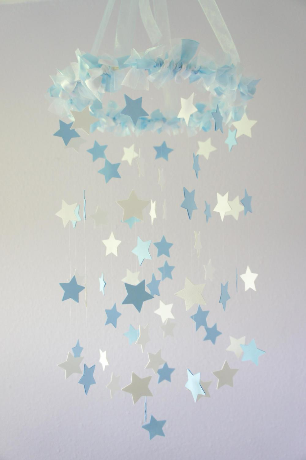 Baby Blue & White Star Mobile - Nursery Mobile, Baby Shower Gift, Nursery Decor