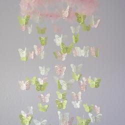 Nursery Mobile- Pink, Green, & White Butterfly Mobile, Baby Shower Gift, Photographer Prop