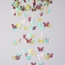 Baby Mobile- Butterflies in Burgundy, Aqua, Green, & Pink