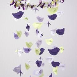 Purple Lavender Green Bird Nursery Mobile, Baby Shower Gift, Photographer Prop