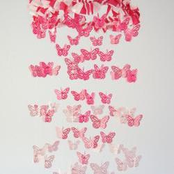 Butterfly Mobile in Cascading Pinks- Nursery Mobile, Baby Shower Gift, Nursery Decor