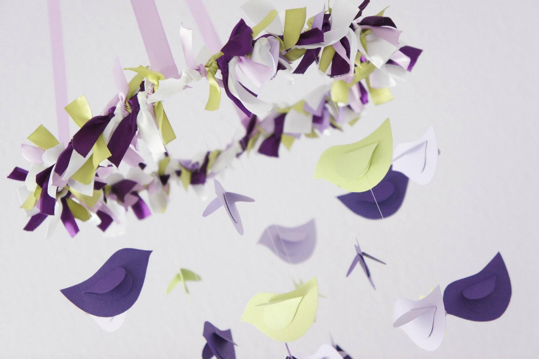 Purple Lavender Green Bird Nursery Mobile Baby Shower Gift Photographer Prop On Luulla