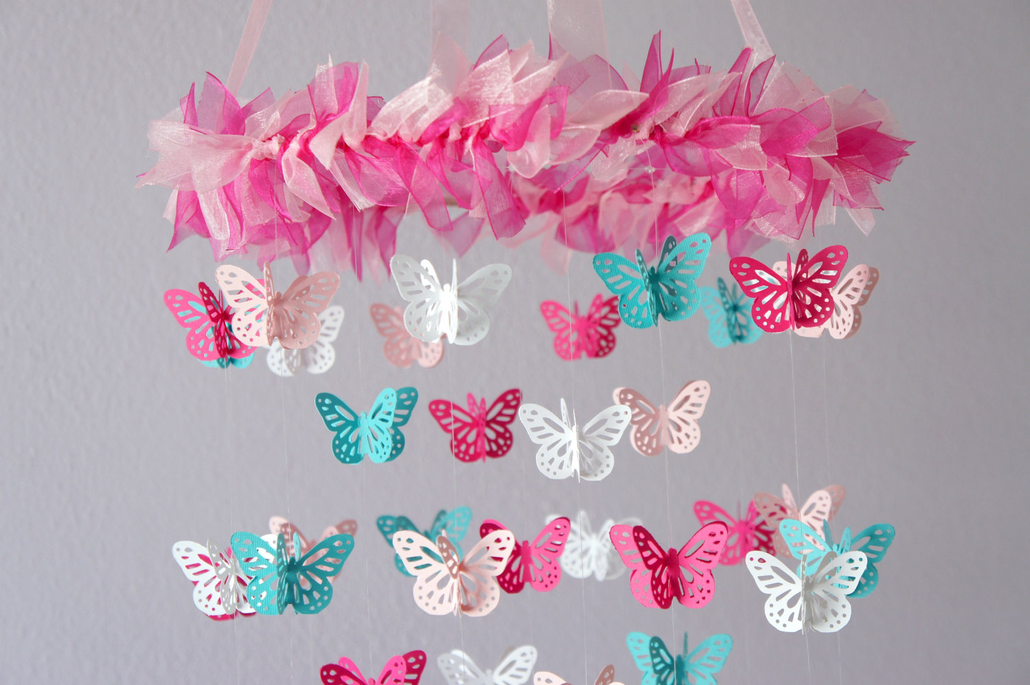 Nursery Mobile   Hot Pink U0026 Aqua Butterfly Mobile, Photography Prop, Baby  Shower Gift On Luulla