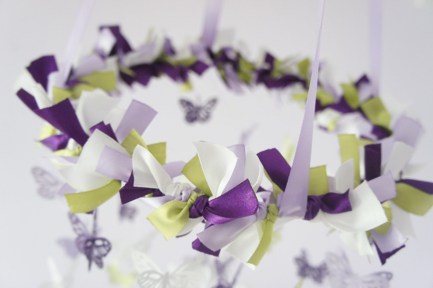 purple and green baby shower decorations. Butterfly Mobile In Purple Lavender Green  White Photography Prop Baby Shower Gift on Luulla