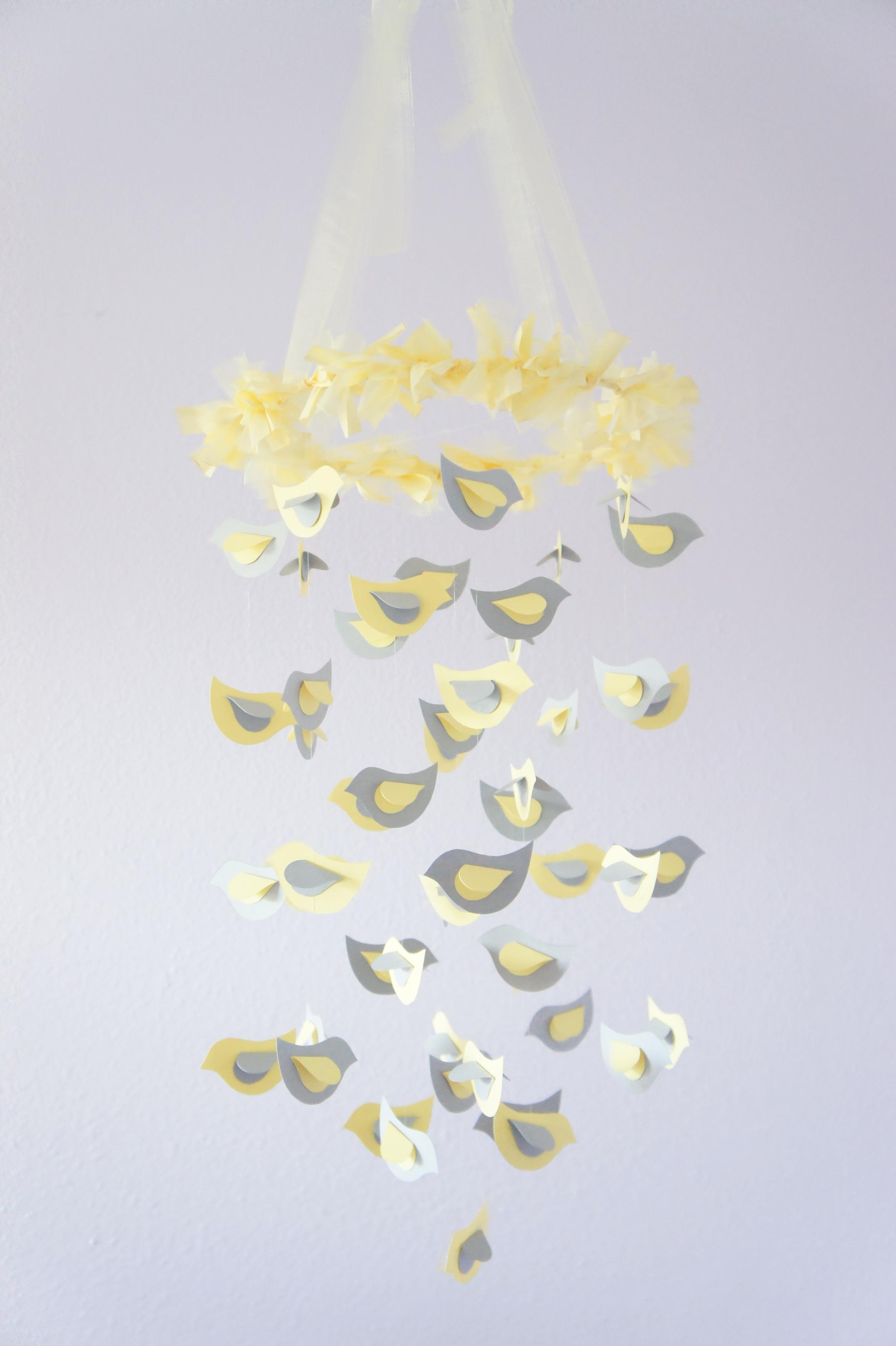 Modern Nursery Mobile Yellow Gray Bird Photography Prop Baby Shower Gift