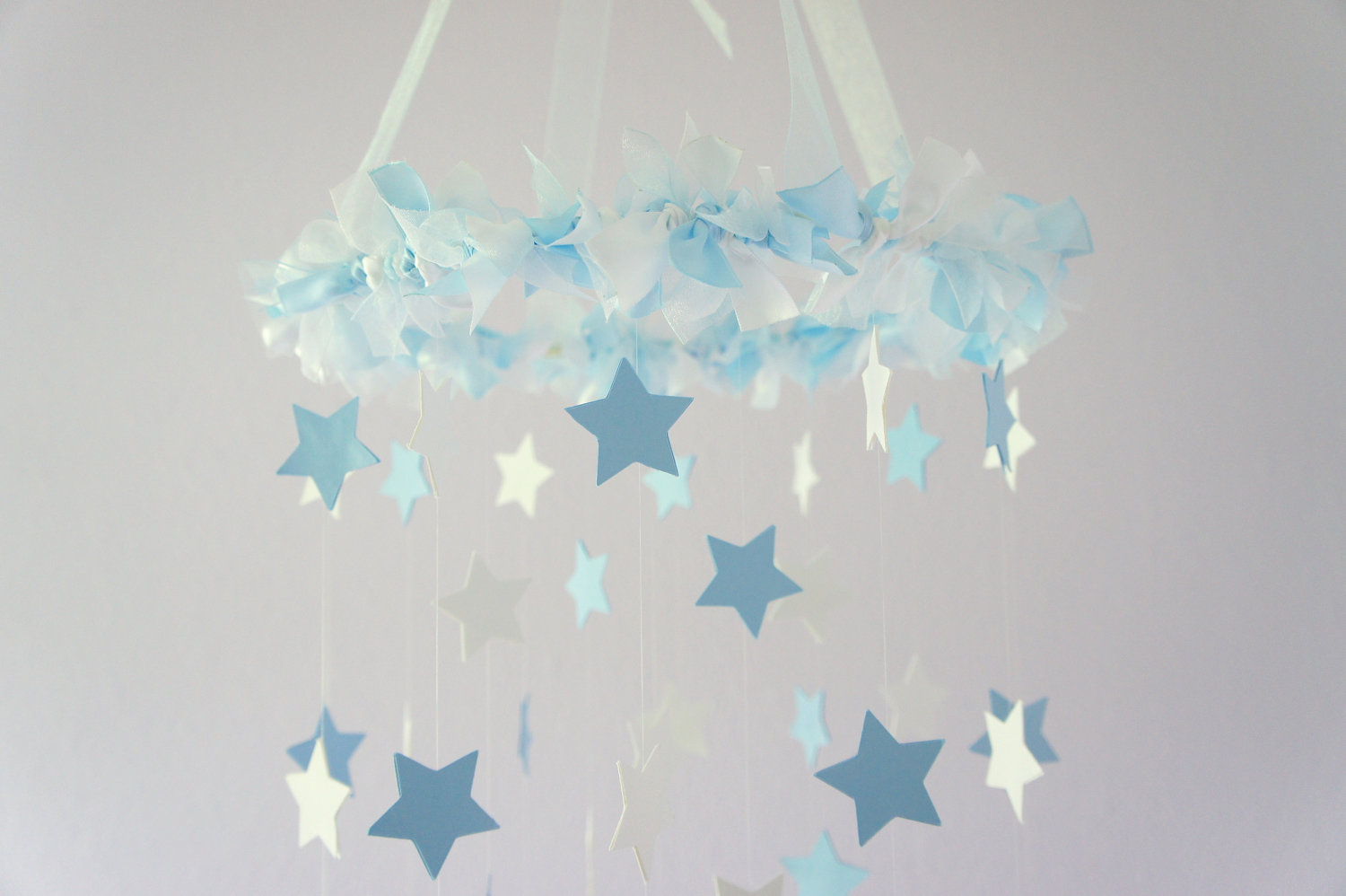 Baby Blue White Star Mobile Nursery Shower Gift Decor On Luulla